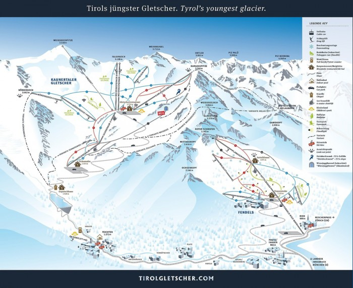 pisteplan Kaunertaler Gletsjer Fendels Ried im Oberinntal