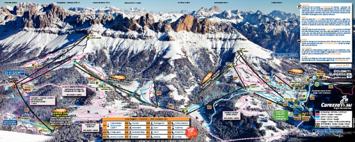 pisteplan Carezza Karersee Dolomiti Superski Rosengarten passo di Costalunga