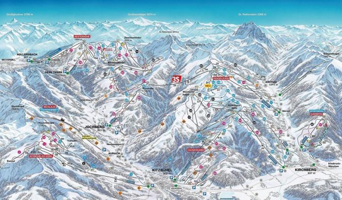 pisteplan Kitzbüheler alpen Mittersill Hollersbach Jochberg Pass Thurn Kitzbuhel Kirchberg