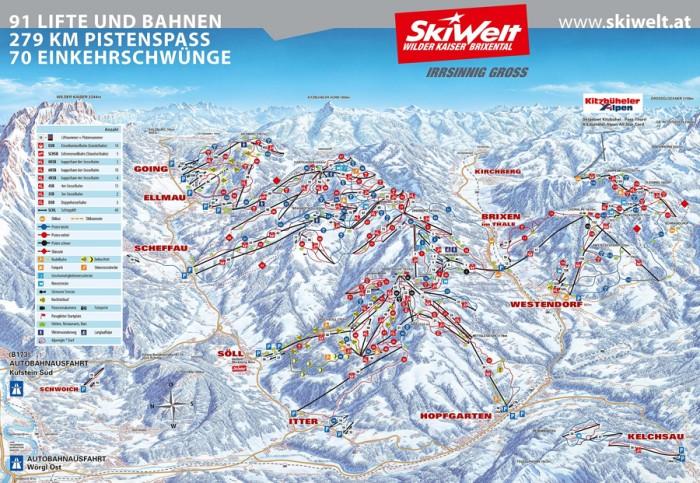 pisteplan Skiwelt Wilder Kaiser Scheffau Westendorf Going Brixen Ellmau Hopfgarten