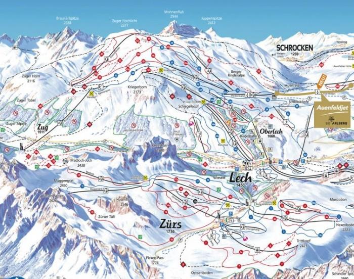 Pisteplan Lech en Zurs