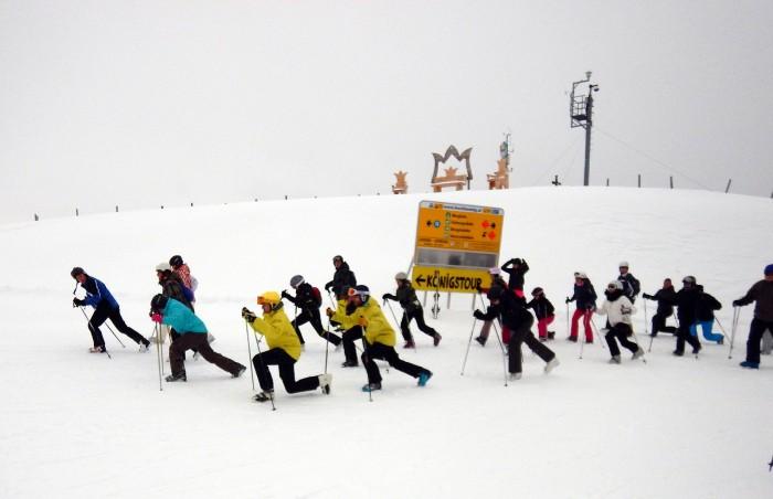 warming up voor de skidag op de Aberg (Hochkoenig)