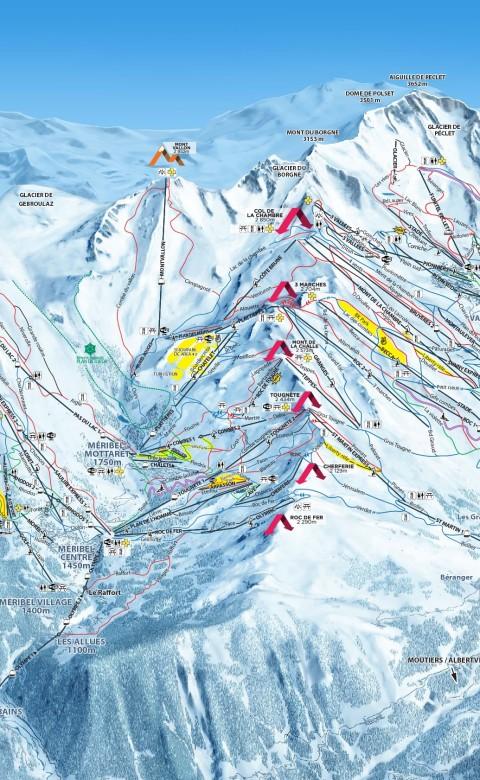 De pistekaart van de skisafari in Frankrijk